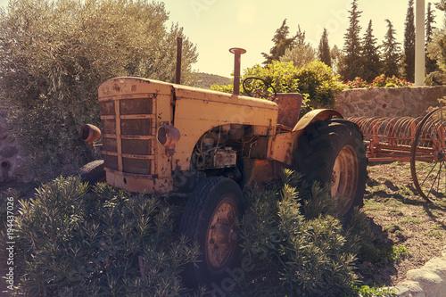 Aluminium Trekker Old vintage tractor in a farm