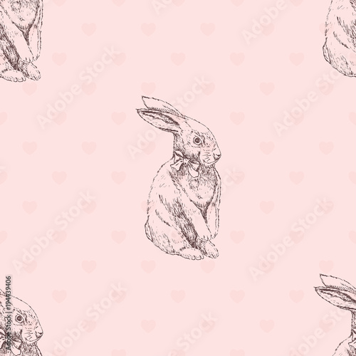 Materiał do szycia Hand drawn easter bunny seamless pattern. Rabbit sketch seamless pattern