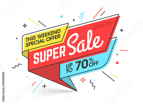 Super sale, weekend special offer banner template in flat trendy memphis geometric style, retro 80s - 90s paper style poster, placard, web banner designs