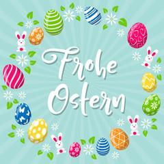 Frohe Ostern Hintergrund Osterkarte mit bunten Ostereiern und Osterhase
