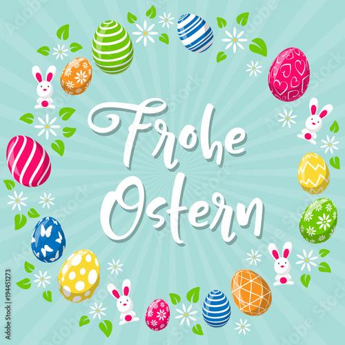 Frohe Ostern Hintergrund Osterkarte mit bunten Ostereiern und Osterhase - 194451273