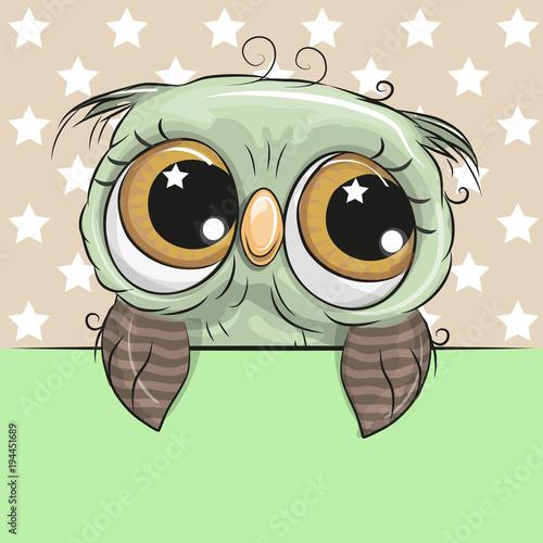 Greeting card cute Cartoon Owl is holding a placard