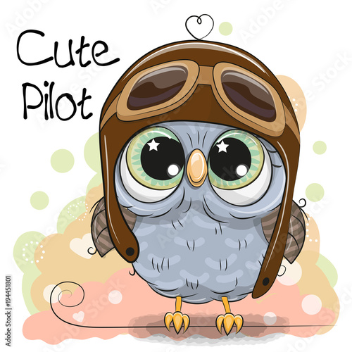 Tuinposter Uilen cartoon Cute Owl in a pilot hat