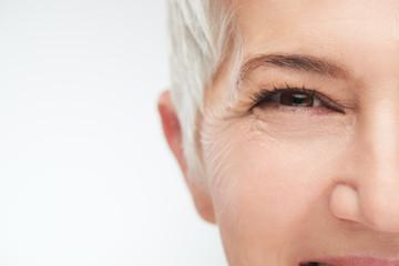 Close up of senir woman eye.