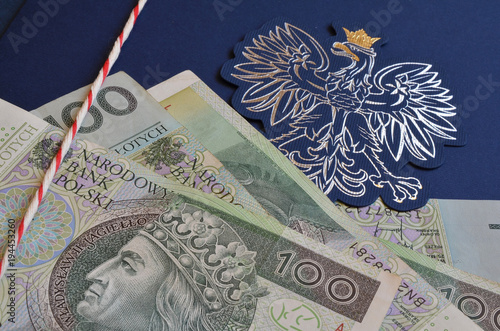 Aluminium Eagle godło Polski i banknoty