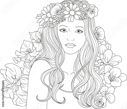 Beautiful Girl Coloring Pages Buy Photos Ap Images