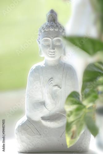 In de dag Boeddha peaceful white buddha