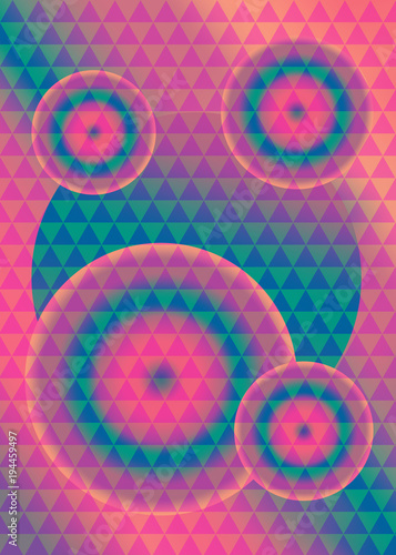 Fototapeta Holographic, retro background with geometric triangle pattern and gradient circles.