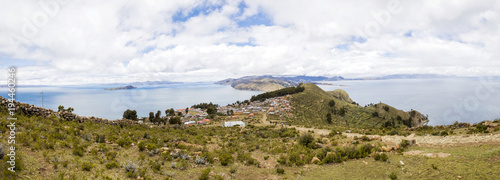 Deurstickers Wit Isla del Sol on lake Titicaca in Bolivia