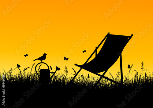 Summer Meadow Canvas Chair Banner Sundown Yellow/Orange