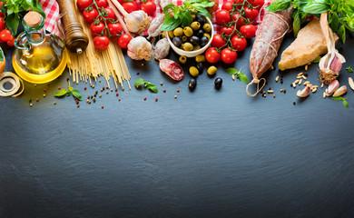 Italian Food Ingredients On Dark Table