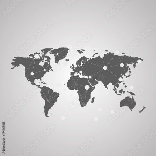 Fototapeta Detailed vector World map of gray colors. Names, town marks and national borders are in separate layers.