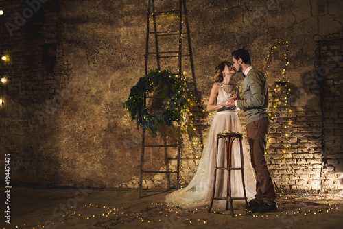 Foto Murales Wedding couple and lof style decorations