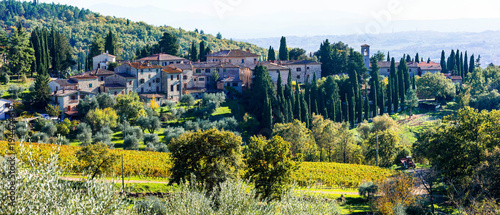 Plexiglas Freesurf Traditional rural landscapes and villages of Tuscany. Chianty vine region. Italy