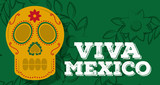 viva mexico skull decoration green floral background vector illustration