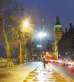 night scene in London city, United Kingdom. Big Ben in background
