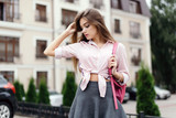 Fashion portrait of young stylish hipster woman