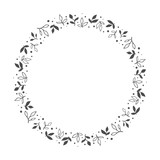 vector hand drawn floral wreath, round frame with leaves and dots, decorative design element, illustration - 194481606
