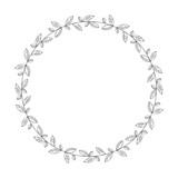vector hand drawn floral wreath, round frame with leaves, decorative design element, illustration - 194482677