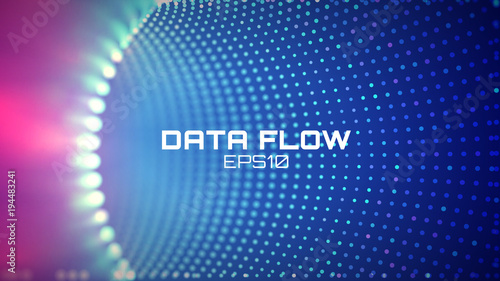 Data flow tunnel. Geometric round background