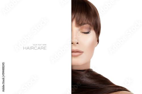 Fotobehang Kapsalon Beautiful woman with Bright makeup and long shiny hair