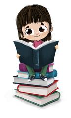 Niña leyendo sentada sobre un montón de libros