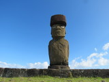 Rembarkable Easter Island Landscape with Moais and the Sea