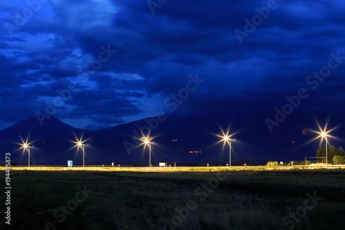Tuinposter Nacht snelweg Street Lighting Armenia
