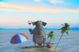 3D Illustration of a elephant sits on the beach overlooking the resort and the sea - 194502274