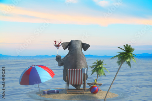 Fototapeta 3D Illustration of a elephant sits on the beach overlooking the resort and the sea
