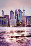 Manhattan skyline at sunset, color toned picture, New York City, USA.