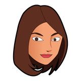 Woman Face Cartoon  Illustration Graphic Design Wall Sticker
