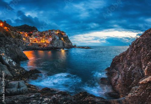 Foto op Canvas Liguria Manarola, Cinque Terre, Italy. Manarola village during sunset