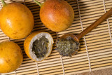Fresh and ripe yellow passion fruit