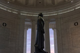 A profile view of the statue of Thomas Jefferson