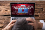 Looking At Laptop Screen Showing Personal Files Encrypted Text - 194539667