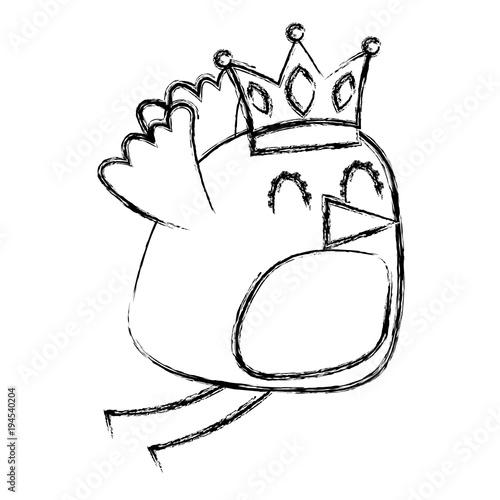 beauty bird with crown cartoon vector illustration sketch image