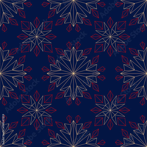 Floral seamless pattern. Colored red and blue background - 194547859