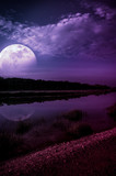 Night sky and super moon at riverside. Serenity nature background.