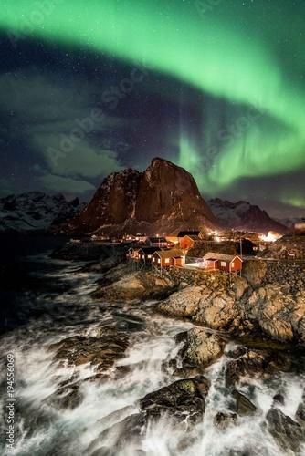 Plexiglas Noorderlicht Aurora over Hamnoy