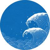 波 和風文様 Wall Sticker