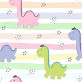 Cute Seamless Pattern  Funny Dinosaurs  Illustration Wall Sticker