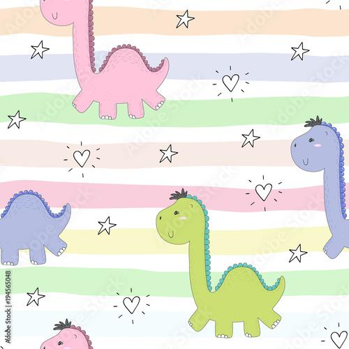 Fototapeta Cute seamless pattern with funny dinosaurs. vector illustration.