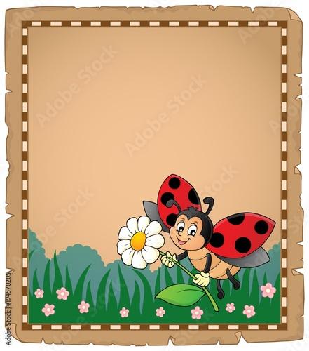 Foto op Canvas Voor kinderen Parchment with ladybug holding flower