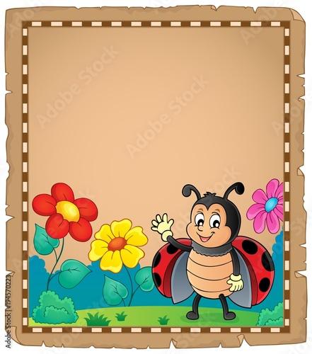 Foto op Canvas Voor kinderen Parchment with waving ladybug