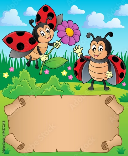Foto op Canvas Voor kinderen Small parchment with happy ladybugs