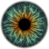 Illustration of a blue with orange human iris texture. Digital artwork creative graphic design.
