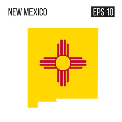 New Mexico map border with flag vector EPS10