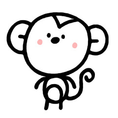 cartoon monkey in hand drawn style. Vector illustration