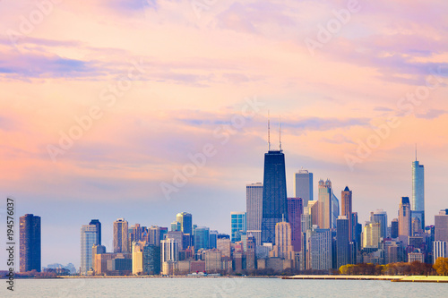 Foto op Plexiglas Chicago Downtown city skyline of Chicago at dawn, Illinois, USA